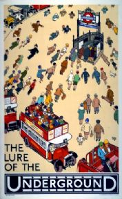 Vintage London Underground Rail Poster. The Lure of the Underground